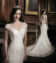 Best Selling 2014 Wedding Dresses Mermaid Trumpet Sweetheart Peals Applique Cap Sleeves Bridal Gowns yk8R974