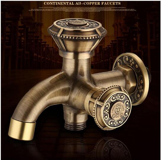 Robinet de jardin en laiton Antique de luxe robinet de machine à laver robinet de bibcocks en cuivre, robinet de toilette, robinet extérieur à Double usage