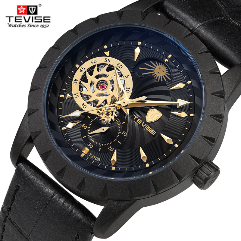 Hot Sell Tevise Brand Tourbillon Man Automatic Mechanical Watch Fashion Business Leather Moon Phase Clock Relogio Masculino tevise men automatic self wind mechanical wristwatches business stainless steel moon phase tourbillon luxury watch clock t805d