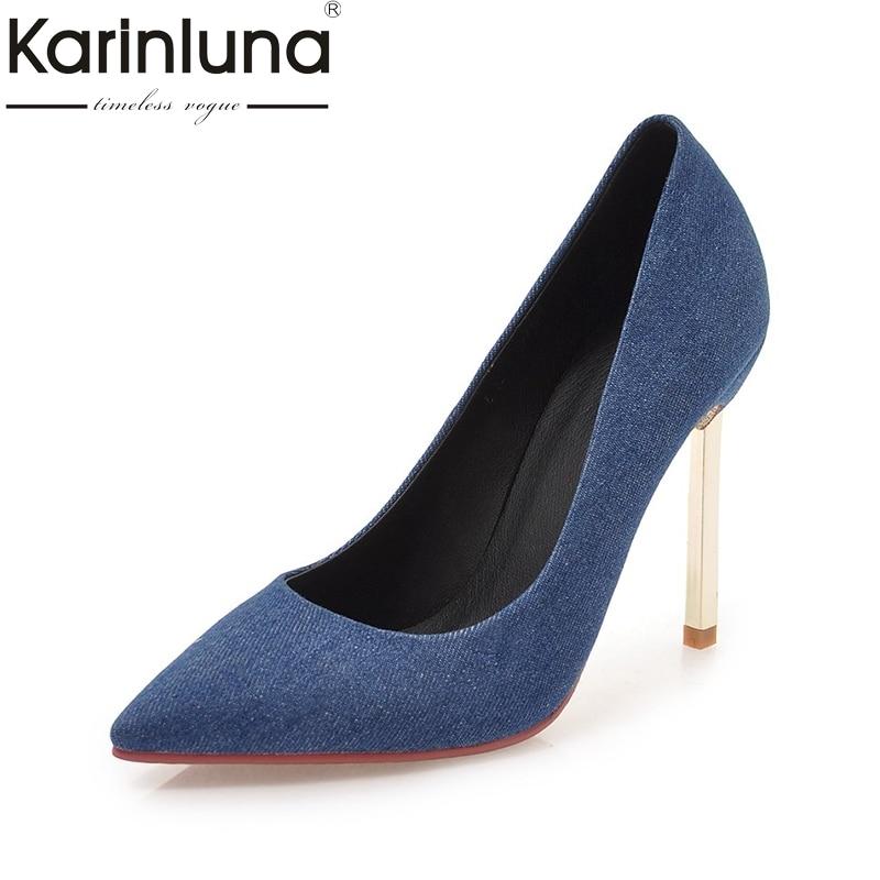Фотография KarinLuna 2018 Big Size 32-43 New Spring Summer Party Shoes Women Sexy Thin High Heels Denim Pumps Shoes