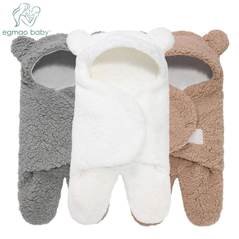 Baby Receiving Blanket Hooded Cotton Plush Swaddle Blanket Newborn Cute Sleeping Bag Sack Unisex Stroller Wrap For Boys & Girls