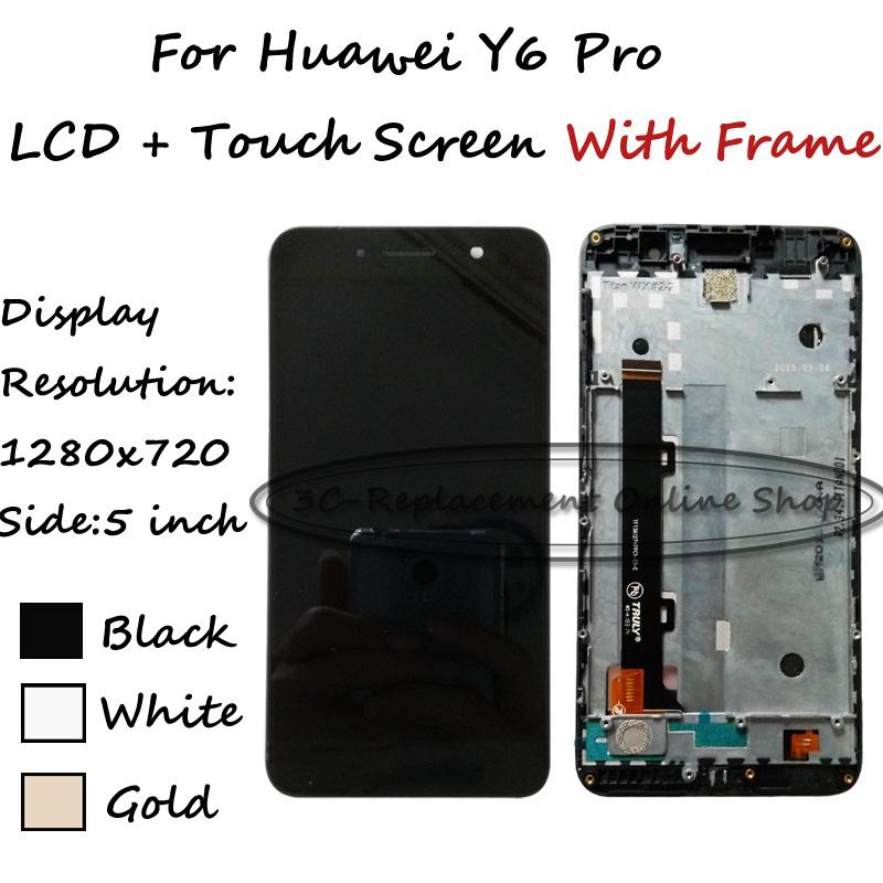 """Prix pour LCD + TP 5.0 """"pour Huawei Y6Pro Y6 Pro Écran lcd + Écran Tactile Digitizer Avec Cadre Remplacement Smartphone + Livraison gratuite"""