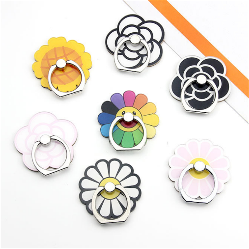 UVR Sunflower Rose Finger Ring Smartphone Stand Holder Phone Holder Stand Flower For IPhone 11  Xiaomi Acrylic All Smart Phone