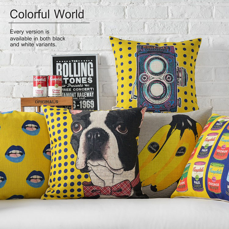 Vintage Yellow Pop Decorative Throw Pillows Living Room Couch Pillows Seat  Floor Floral Chair Cushions Outdoor