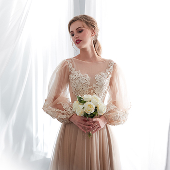 Champagne Prom Dresses Long Puff Sleeves Venice Lace Full Length Evening Dresses Party Gown Formal Dresses vestidos de gala 5