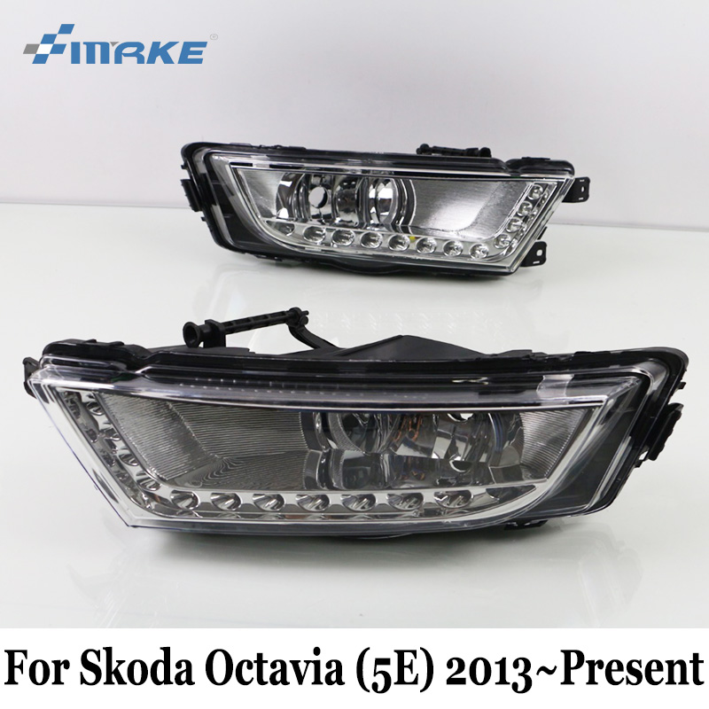 SMRKE DRL For Skoda Octavia RS A7 (5E) 2013~Present / Car LED Daytime Running Lights & Yellow Turning Singal Light / Car Styling сплит система roda rs a 30 e ru a 30 e sky