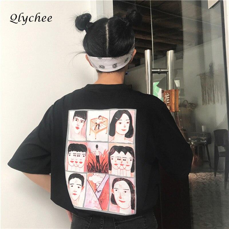 Qlychee קיץ חולצה מזדמן שרוול קצר נשים הדפס יפני דמות מצוירת Tees חולצות בגדים לא Harajuku חולצה