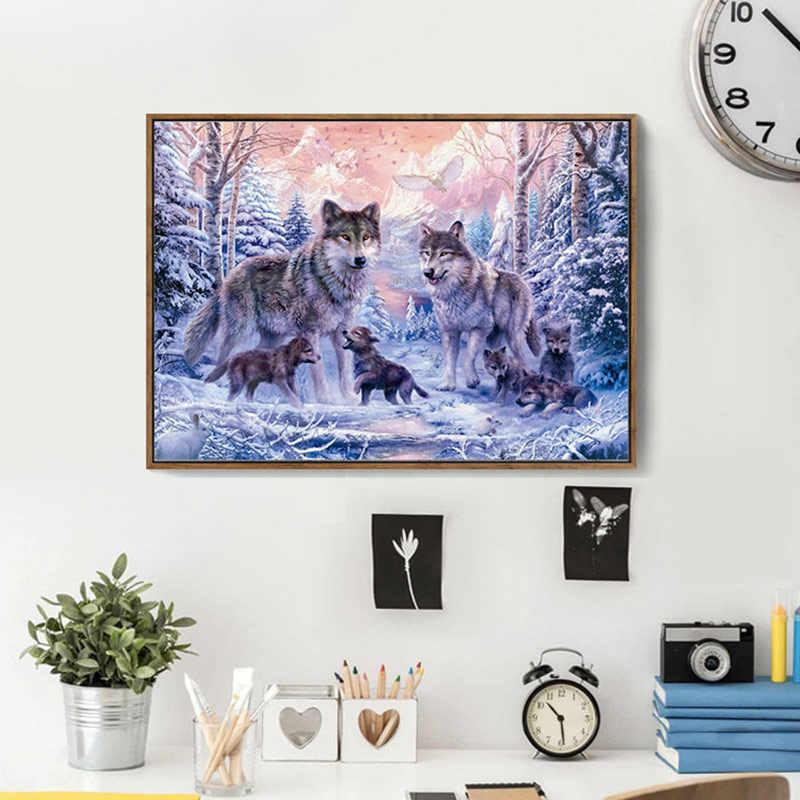 Meian наборы вышивки крестиком 14CT Wofl животные снег хлопок нить живопись DIY рукоделие DMC новый год домашний декор VS-0037