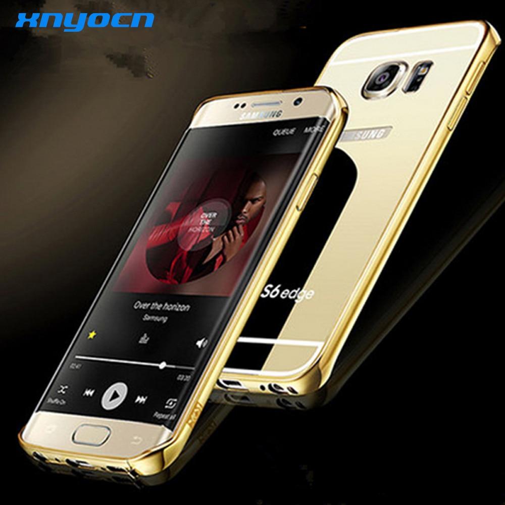 웃 유Para Samsung Galaxy S6 borde Accesorios espejo de lujo metal ...