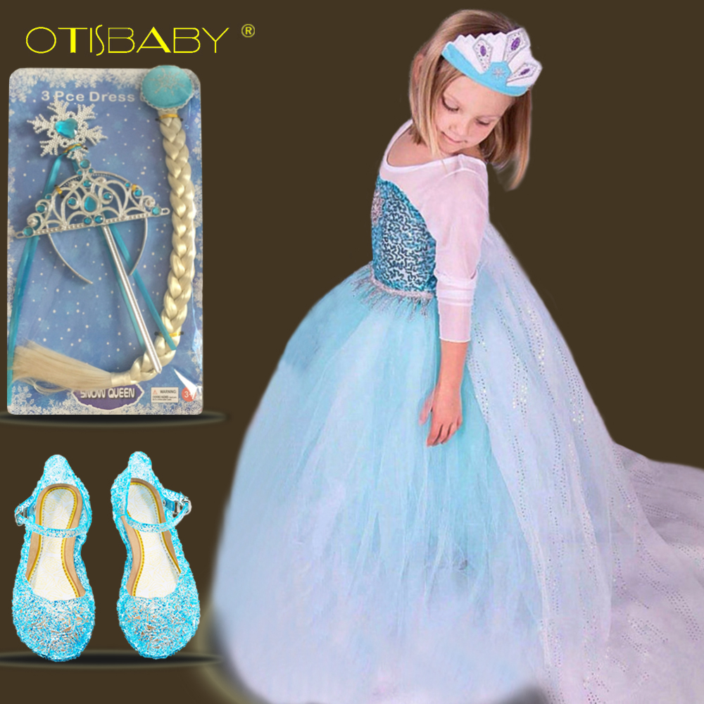 HOT Summer Girls Tulle Elsa Costume Kids Cosplay Prom Snow Queen Faily Dress Children Fancy Black Girl Princess Party Ball Gowns summer girl princess elsa dress with crown children halloween snow queen cosplay costume baby toddler kids girls party clothes