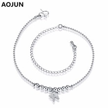 AOJUN Butterfly Beads Anklet Silver plating Anklets For Women Girl Leg Chain Barefoot Sandals Ankle Bracelet Foot Jewelry JL061