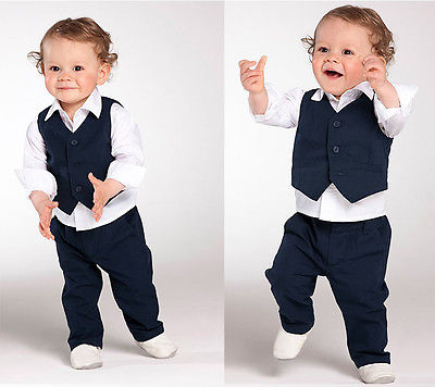 2016 Hot Gentlemen Formal Kids Boys Tops Long Sleeve Solid Shirt+Pants+Waistcoat Three-piece Suit Outfits Sets 1-5Y