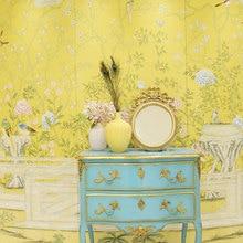Классический элегантный ручной росписью шелковые обои живопись цветы с птицами и забором много узоров и фон на выбор