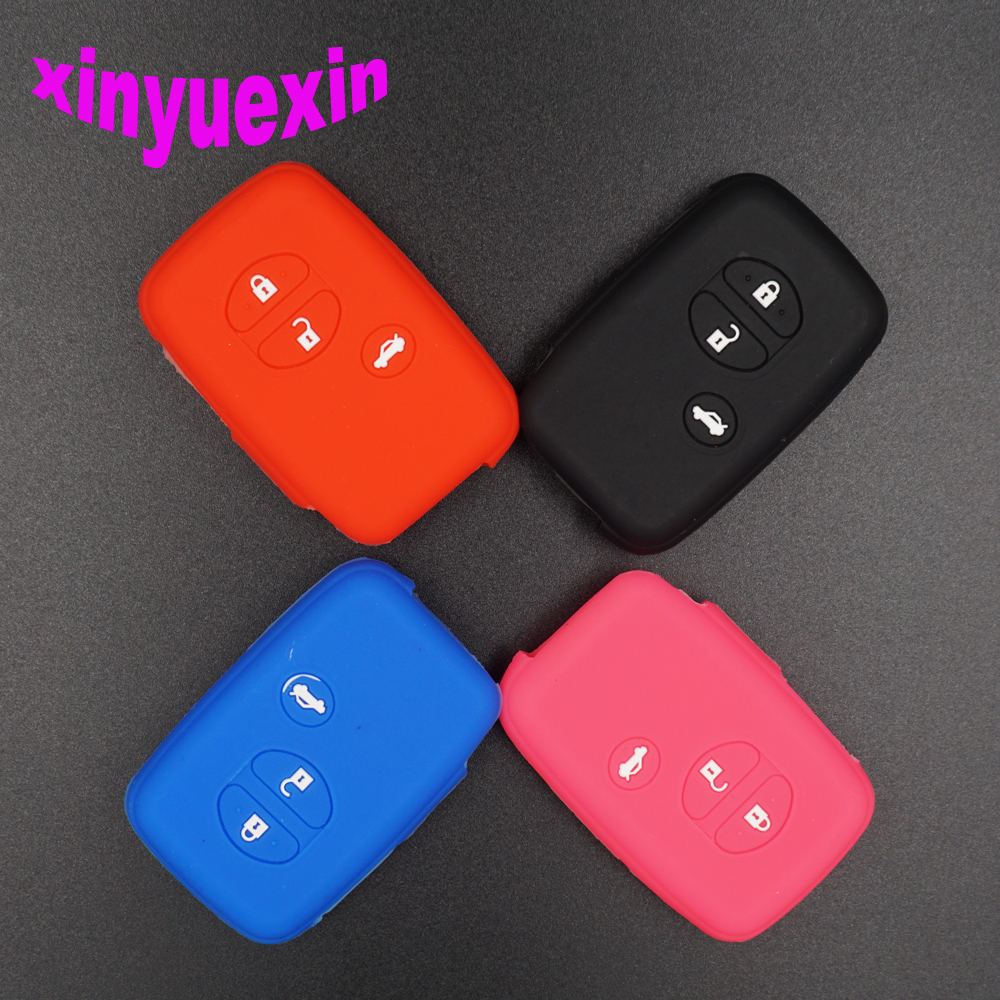 Xinyuexin Silicone Car Key Cover Case For Toyota Land Cruiser Camry Highlander Crown Prado Prius Remote Key Jacket Car-stying