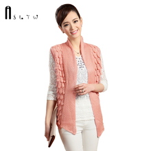 2017 New Women'S Vest Fashion Spring and Summer Cardigans Vest Female Hollow Sleeveless Solid Plus Size Sweater Veste Coat