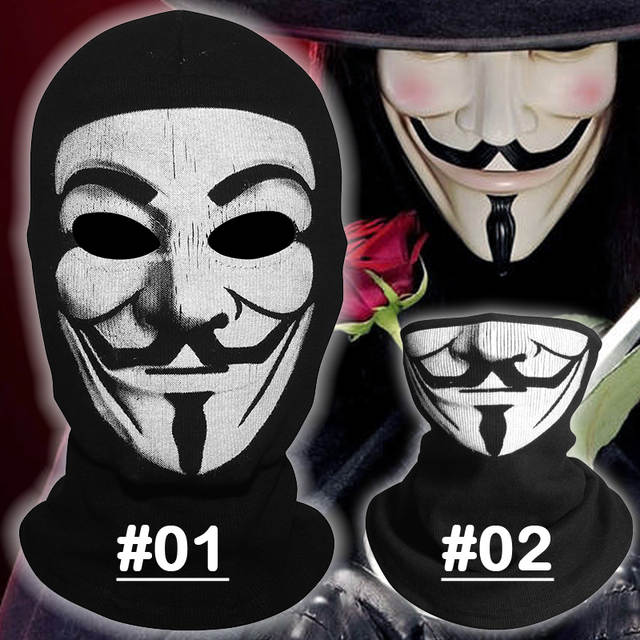 buying new excellent quality meet V for Vendetta Pattern Balaclava V men Halloween Cosplay Costume Hats  Headwear Party Cap Bicycle Sports Windproof Full Face Mask