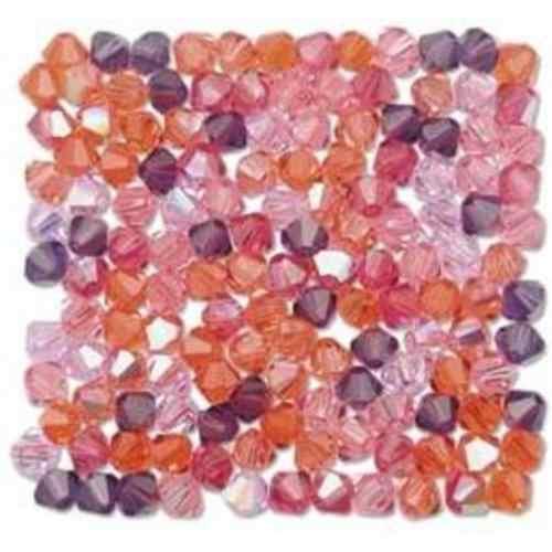 Stenya 4 MM Warna Campuran Manik-manik Kristal Menjerat Kalung Manik-manik Bicone Ragam Batu Perhiasan Anting-Anting Glass Spacer Hiasan Aksesoris