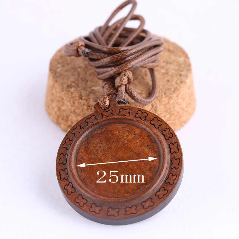 Шукаки 3 шт. дерево Кабошон База настройки 25 мм Пустой деревянная подвеска для ожерелья ободок лотки с кожаным шнуром diy ювелирных изделий