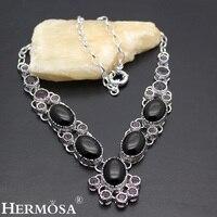 Hermosa مجوهرات رائعة ساحرة أنيقة الأسود أونيكس الرجعية عالية الجودة 925 الاسترليني الفضة غرامة قلادة HF1162