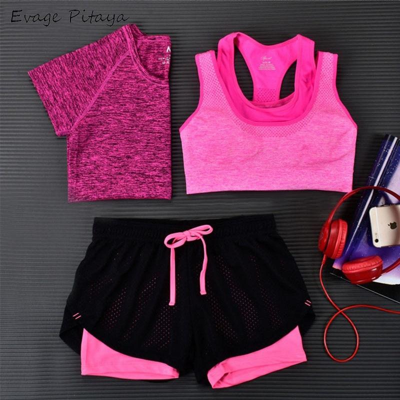 2017 3 Pieces Women Fitness font b Yoga b font Set T Shirt Bra Cropped Trousers