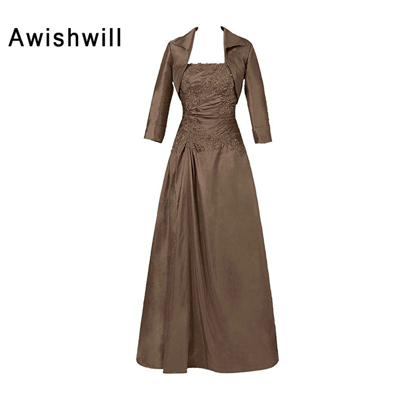 Classic Mother of The Bride Dresses With Jacket Strapless Appliques Taffeta A-line Women Formal Evening Gowns Brown Royal Blue