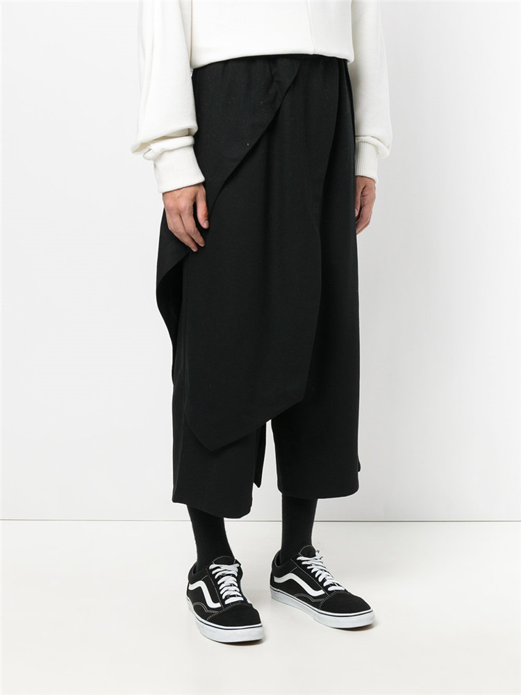 Nouveau européen et américain marée hommes lâche décontracté huit pantalons personnalité faux deux pièces harem pantalon sauvage jambe large pantalon
