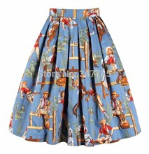 40- colorful cowgirl prints woemn 50s vintage pleated swing skirt plus size  4xl skirts rockabilly 6ea70d06e9c4
