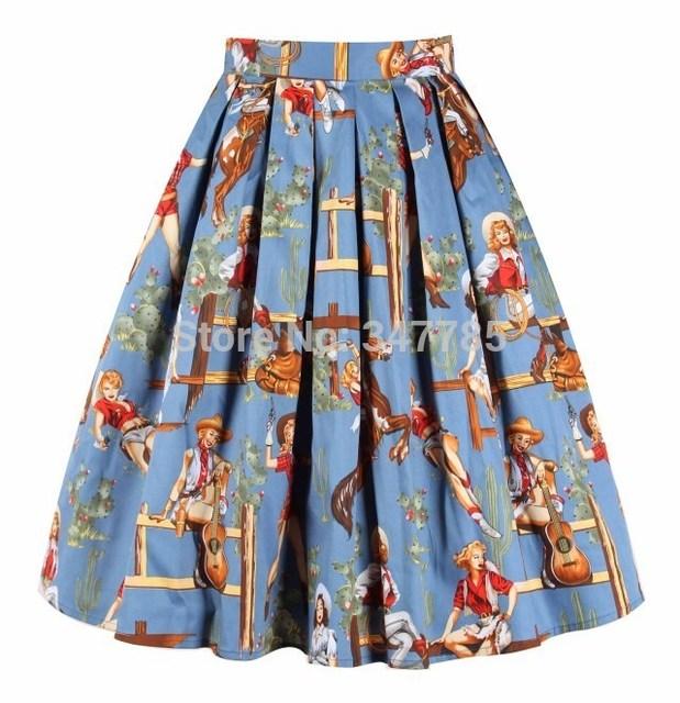 de01251e5c6 40- colorful cowgirl prints woemn 50s vintage pleated swing skirt plus size  4xl skirts rockabilly pinup faldas saias