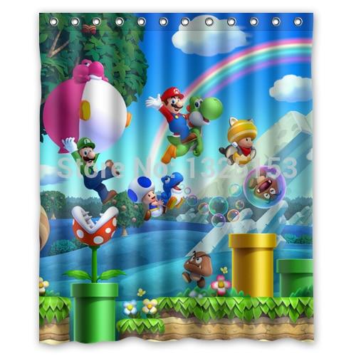 Custom Fashionable Happy Super Mario Bros Bathroom Curtain High Quality Shower 60x72 Inch