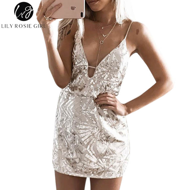 Lily Rosie Girl Deep V Neck Sexy Gold Sequin Mini Dress Women Off Shoulder  Geometric Backless 39f297d30798