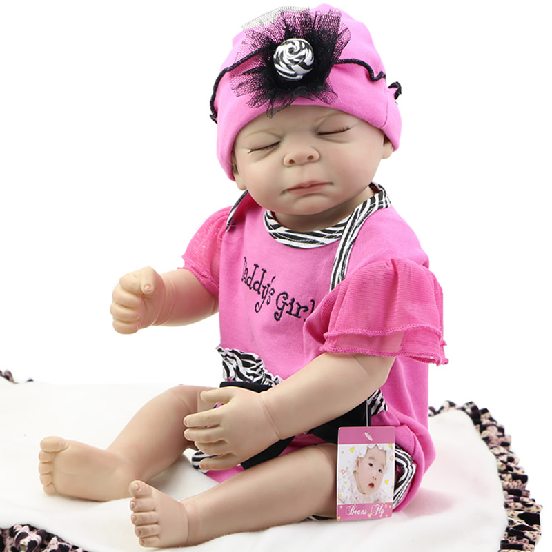 Lovely Rooted Mohair Reborn Baby Dolls 20 Inch 50 cm Newborn Silicone Vinyl Alive Babies Toy With Closed Eyes Kids Birthday Gift