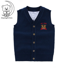 Autumn New Deduction Sweater Vest Embroidery Cartoon Bear Boy's Waistcoats V-neck cotton sleeveless children's sweater
