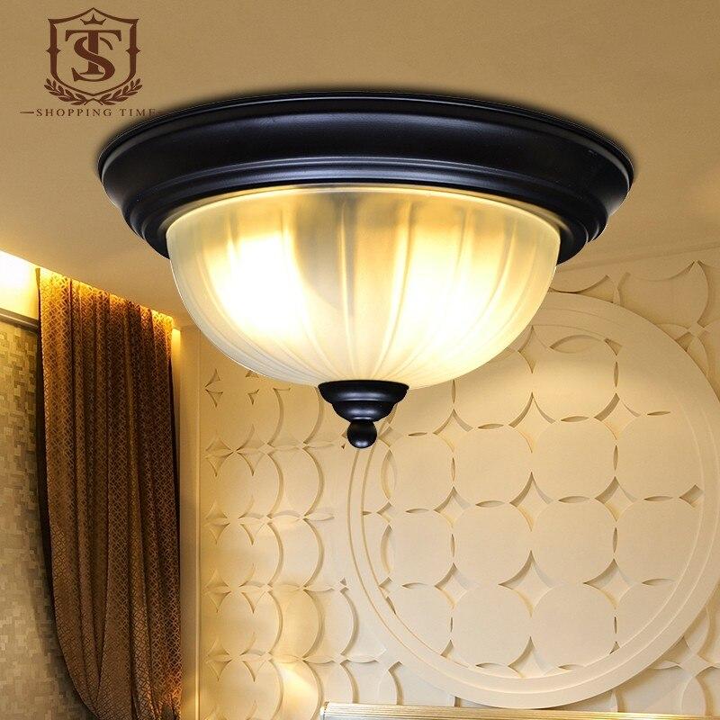ФОТО Modern Iron Ceiling Lights E27 Led Glass Shade Ceiling Lamp European Dia 380mm Bedroom Lighting