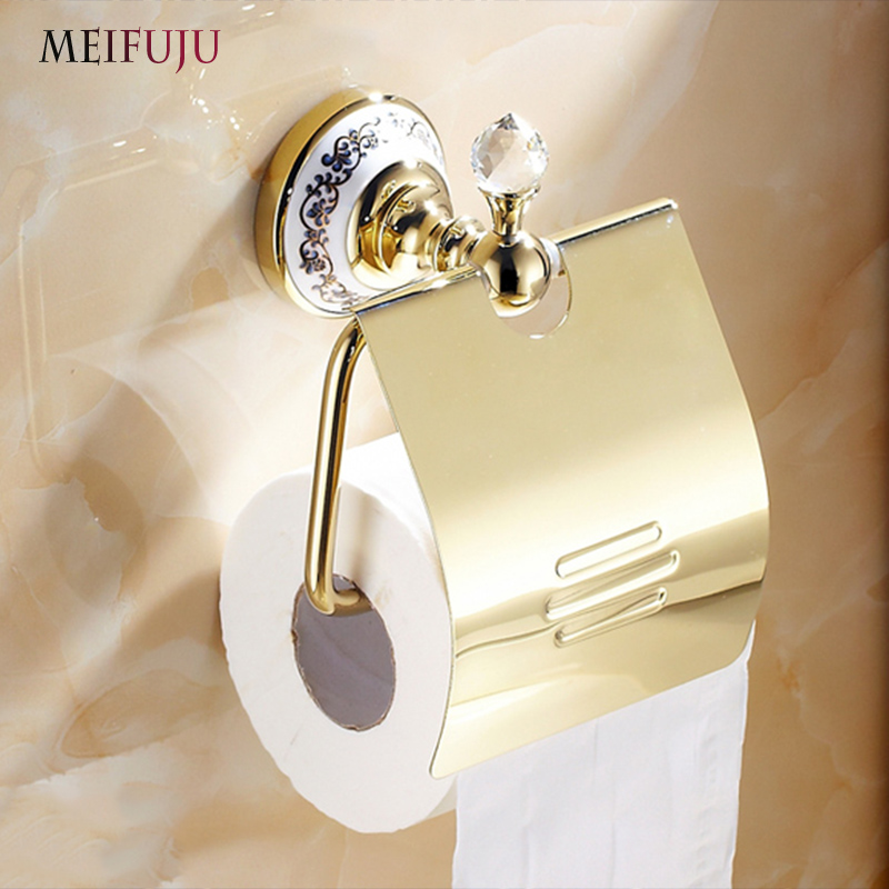 MEIFUJU Luxury Gold Toilet Roll Holder Ceramic Toilet Paper Holder Antique Brass Toilet Paper Roll Cover Bronze Tissue Holder