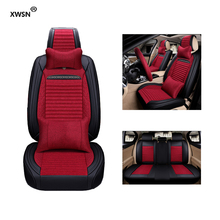 ФОТО xwsn pu leather linen car seat cover for volkswagen toyota kia nissan peugeot car styling auto accessories