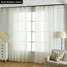 Plain Solid White Tulle Curtains For Living Room The Bedroom Kitchen Modern Linen Voile Sheer Curtain Drapes Window Treatment