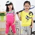 Female child summer 2016 set t-shirt short-sleeve+shorts child fashionable twinset casual sports set Big girl clothing set