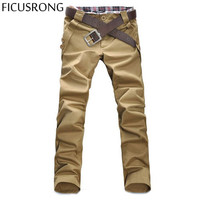 FICUSRONG 2017 New Arrival Mens Casual Solid Skinny Pants Slim Toursers Fashion Men Chinos Pantalon Homme