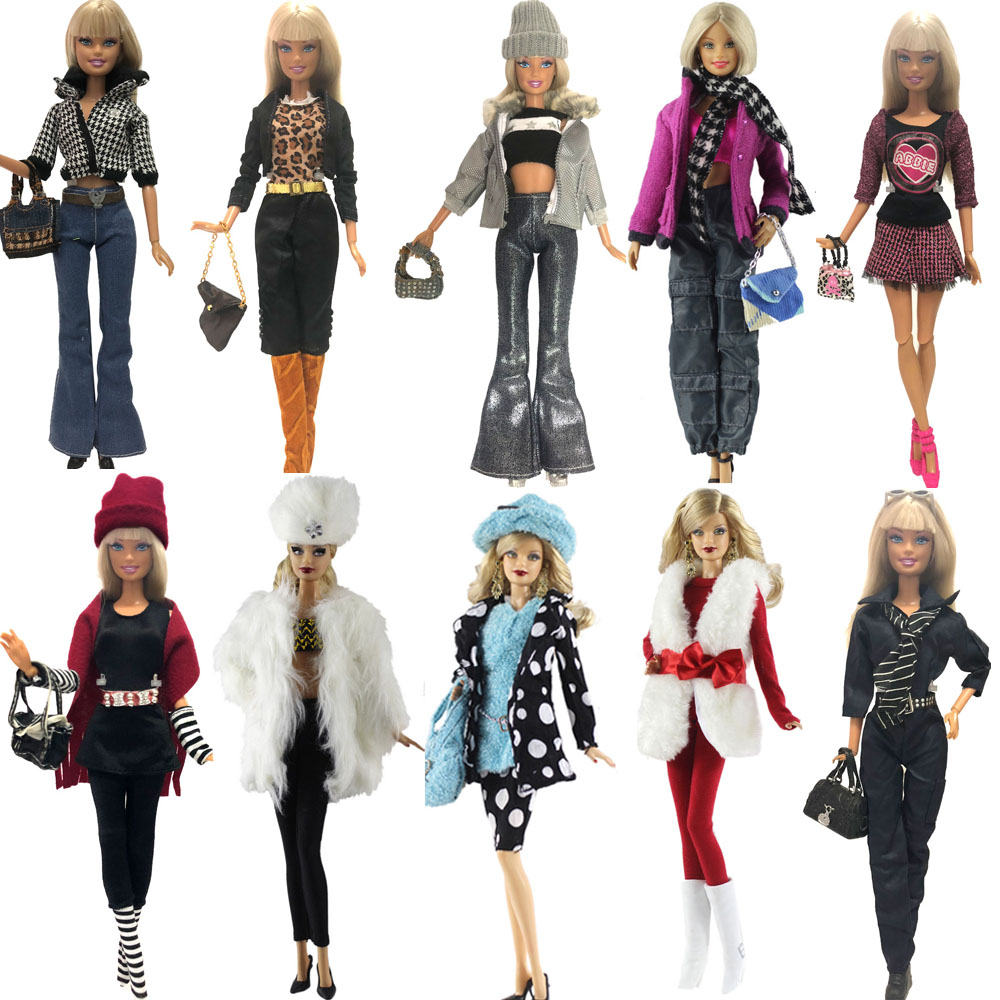 NK 2020 One Set New Doll Clothing Model Casual Suits Coat Bags For Barbie Doll Best Gift Baby Toy DIY Accessories JJ image