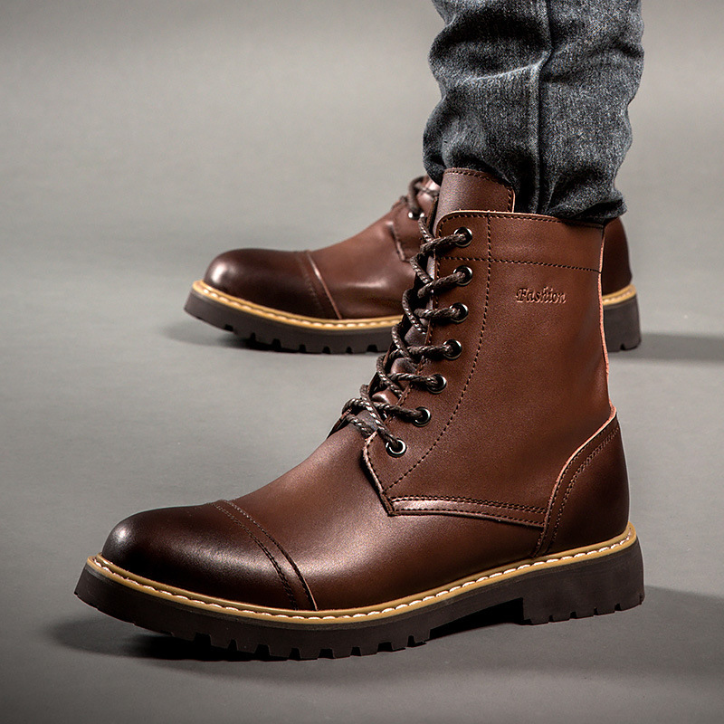 Spring Autumn Retro Men Genuine Leather Work Boots Vintage -1432