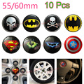 10Pcs Universal 55mm/60mm Auto Motorcycle Car Steering Tire Wheel Center Hub Emblem Decal Sticker Punisher/Batman/superman etc