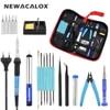 NEWACALOX EU 220V 60W Thermoregulator Soldering Iron Kit Screwdriver Desoldering Pump Tin Wire Pliers Welding Tools