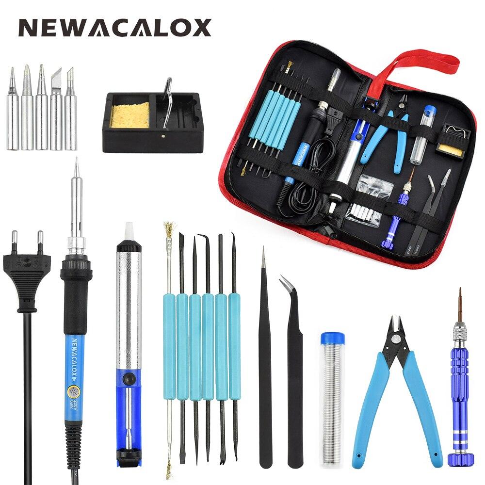NEWACALOX EU 220V 60W Thermoregulator Soldering Iron Kit Screwdriver Desoldering Pump Tin Wire Pliers Welding Tools Storage Bag