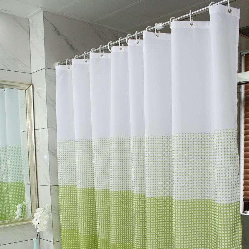 New Hooks Waterproof Shower Curtain Eco Friendly Shower Curtains Polyester  Green Endless Curtain For The
