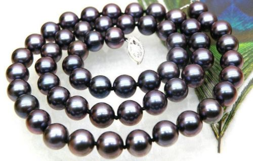 gorgeous tahitian 9-10mm round black red pearl necklace 18inch  shipping freegorgeous tahitian 9-10mm round black red pearl necklace 18inch  shipping free