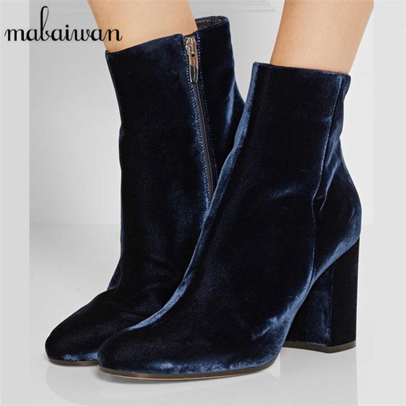 Mabaiwan Fashion Velvet Women Ankle Boots Chunky High Heels Side Zipper Pointed Toe Short Botines Women Pumps Shoes Woman fashion velvet women short booties pointed toe back zip metal decor ankle boots botines mujer women platform pumps shoes