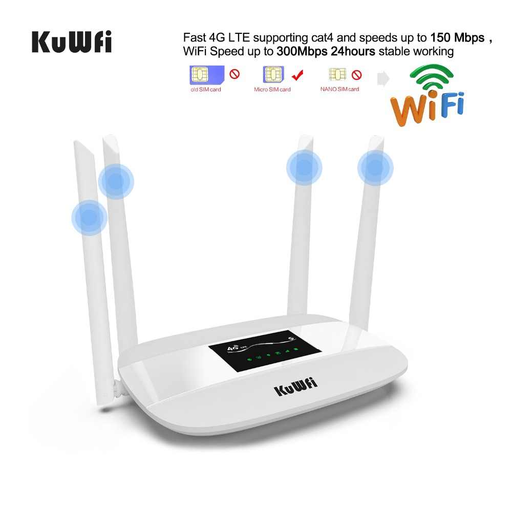 KuWFi Unlocked 4G LTE Routeur sans fil intérieur CPM sans fil 300Mbps intérieur Routeur 4pcs Antennes avec port LAN et fente pour carte SIM Jusqu'à 32 utilisateurs