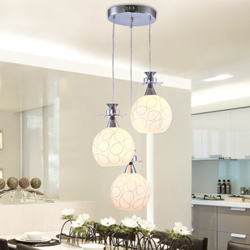LukLoy 3 Heads Glass LED Pendant Light Dining Room LED Pendant Lamps Modern Simple Hanging Lights Bar Hotel Drop Lighting Parlor 110v 240v g4 led copper glass pendant lights lamps lighting 1 light d30cm for dining room kitchen cafe bar led hanging lights