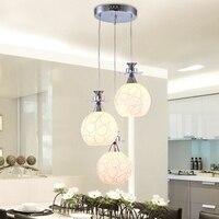 LukLoy 3 Heads Glass LED Pendant Light Dining Room LED Pendant Lamps Modern Simple Hanging Lights Bar Hotel Drop Lighting Parlor