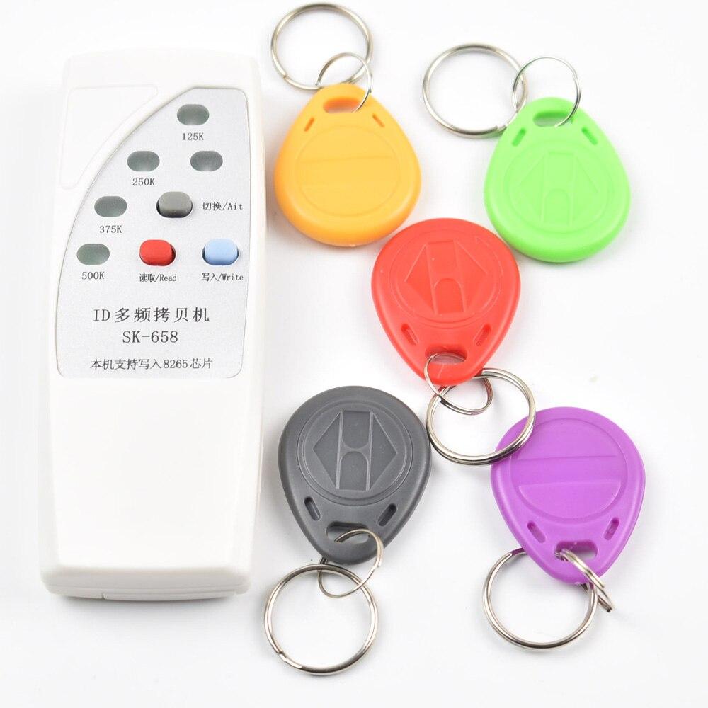 Livraison gratuite 4 fréquence RFID Copieur/Duplicateur/Cloner ID EM lecteur et écrivain + 5 pcs EM4305 T5557 inscriptible porte-clés